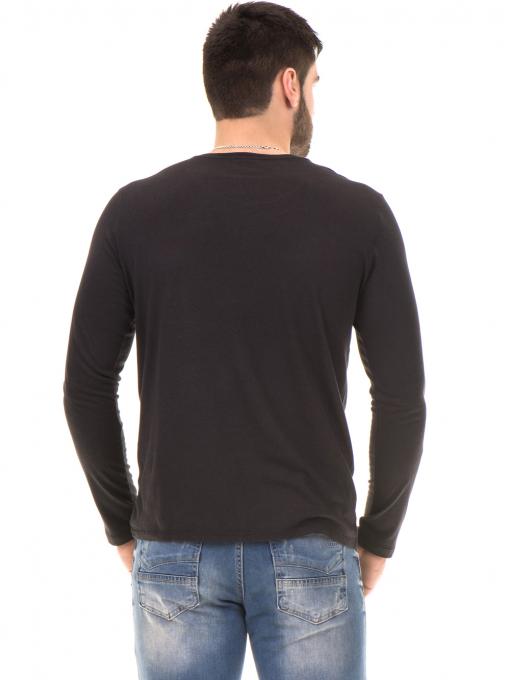 Мъжка блуза с щампа-надпис XINT 634 - черна B