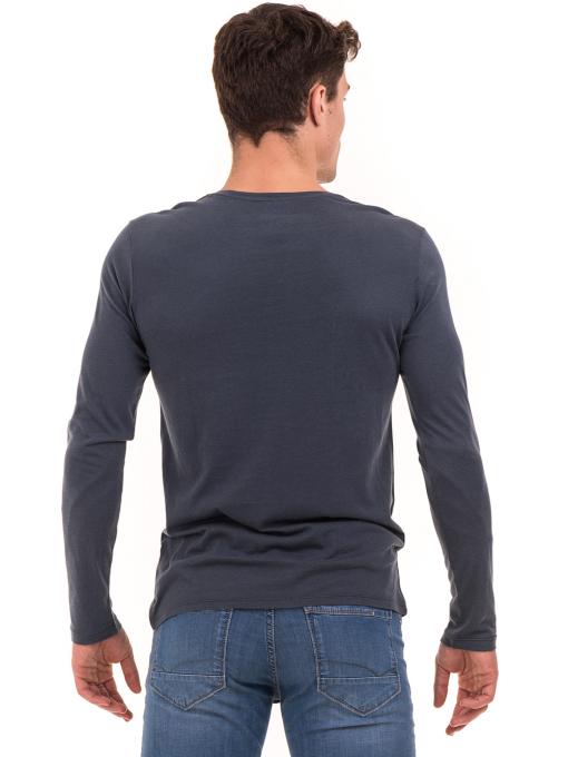 Мъжка блуза с щампа-надпис XINT 634 - тъмно синя B