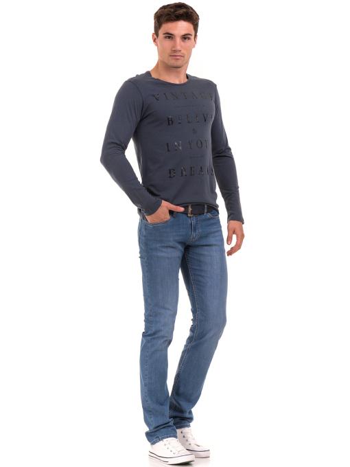Мъжка блуза с щампа-надпис XINT 634 - тъмно синя C