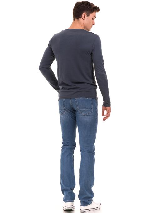 Мъжка блуза с щампа-надпис XINT 634 - тъмно синя E
