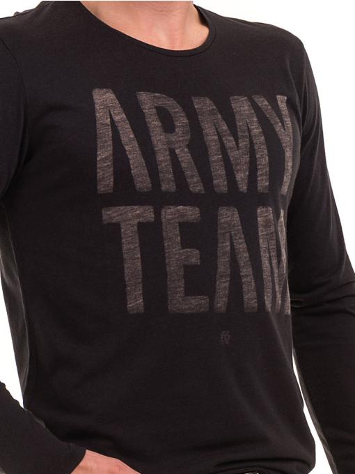 Мъжка спортна блуза с надпис XINT 676 - черна D