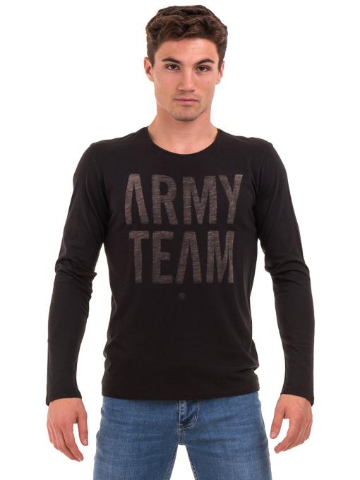 Мъжка спортна блуза с надпис XINT 676 - черна