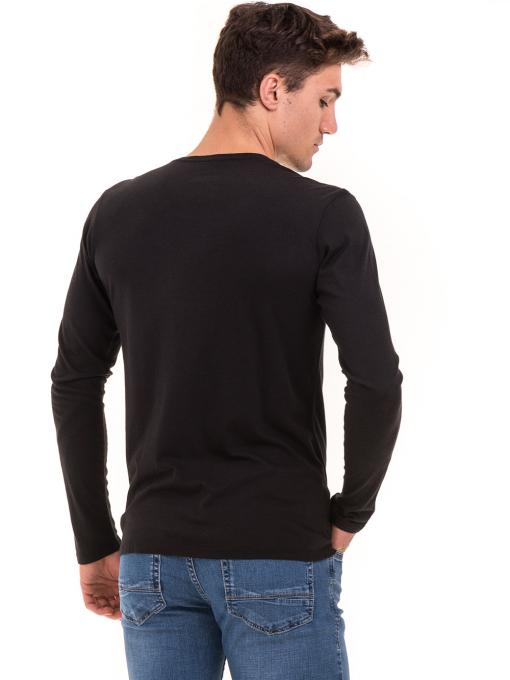 Мъжка спортна блуза с надпис XINT 676 - черна B
