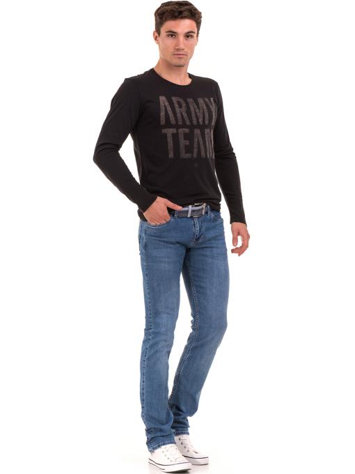 Мъжка спортна блуза с надпис XINT 676 - черна C