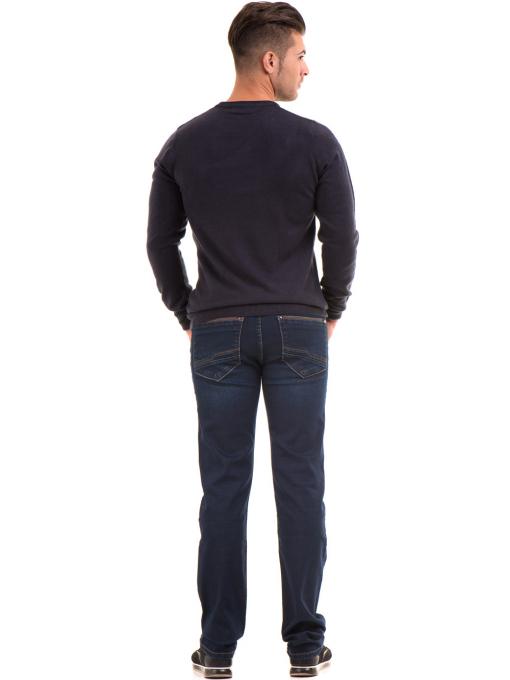 Мъжки пуловерот фино плетиво AFM 600 - тъмно син E