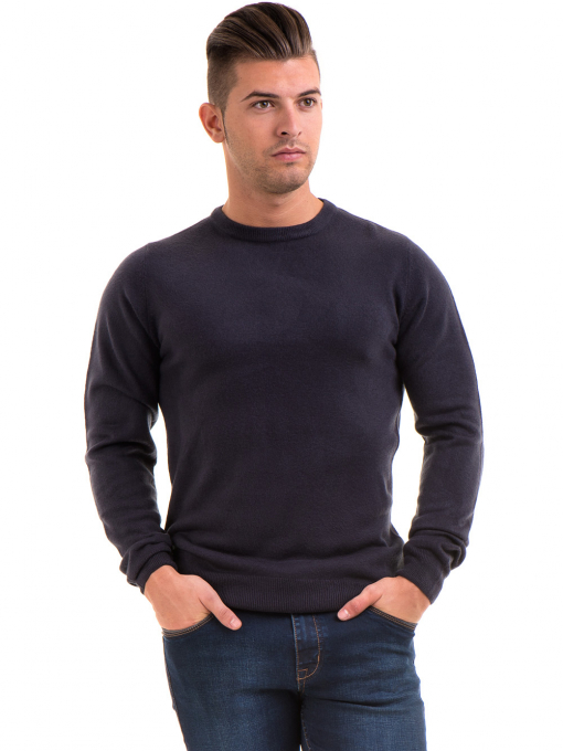 Мъжки пуловерот фино плетиво AFM 600 - тъмно син
