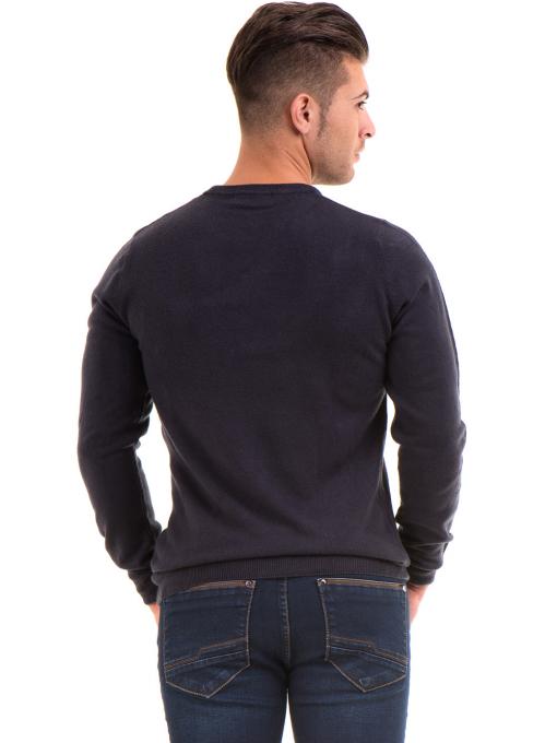 Мъжки пуловерот фино плетиво AFM 600 - тъмно син B