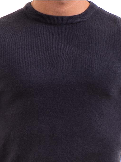 Мъжки пуловерот фино плетиво AFM 600 - тъмно син D