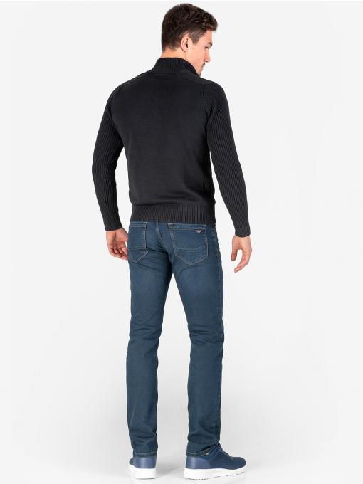 Мъжки пуловер с висока яка - черен 103 INDIGO Fashion