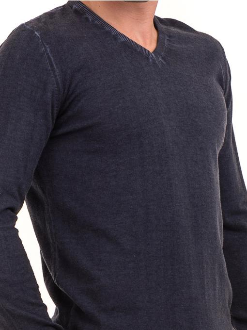 Мъжки пуловер с V-образно деколте BLUE PETROL 2600 - тъмно син D