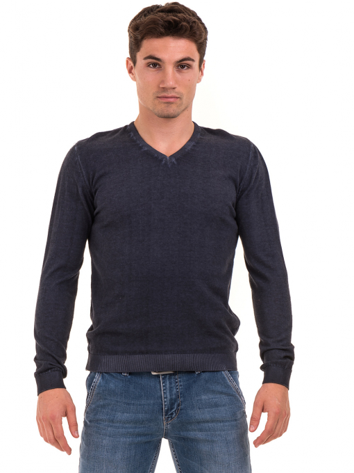 Мъжки пуловер с V-образно деколте BLUE PETROL 2600 - тъмно син