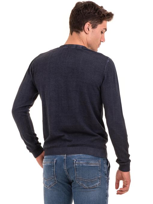 Мъжки пуловер с V-образно деколте BLUE PETROL 2600 - тъмно син B