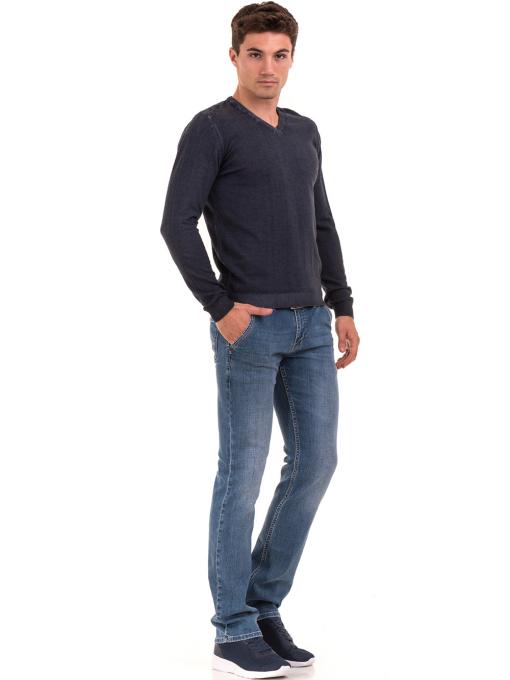 Мъжки пуловер с V-образно деколте BLUE PETROL 2600 - тъмно син C