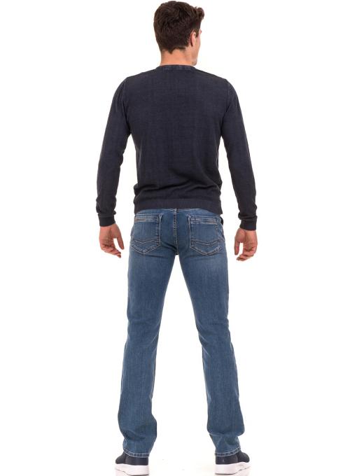 Мъжки пуловер с V-образно деколте BLUE PETROL 2600 - тъмно син E