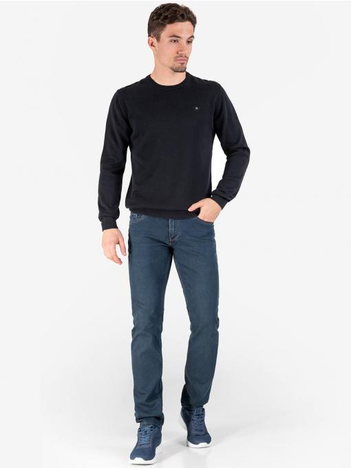 Мъжки пуловер с обло деколте - черен 3737 INDIGO Fashion