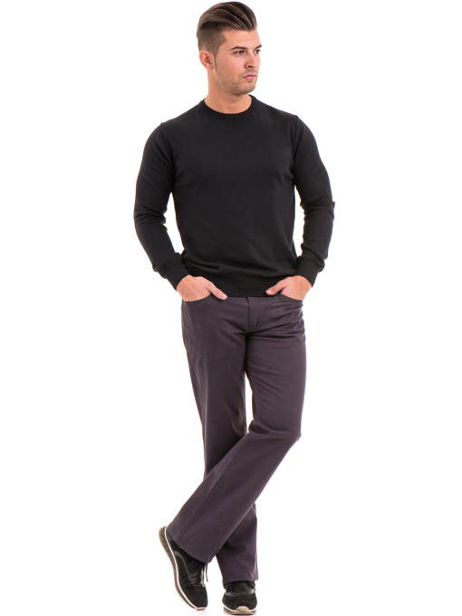 Мъжки пуловер от фино плетиво IQ 045 - черен C