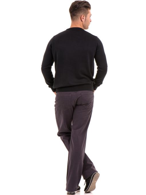 Мъжки пуловер от фино плетиво IQ 045 - черен E