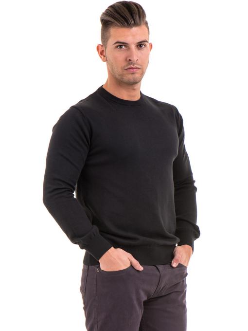 Мъжки пуловер от фино плетиво IQ 045 - черен