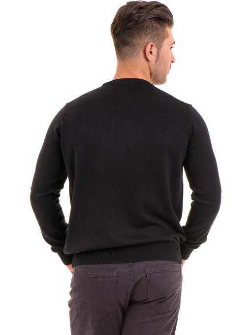 Мъжки пуловер от фино плетиво IQ 045 - черен B