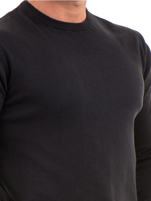 Мъжки пуловер от фино плетиво IQ 045 - черен D