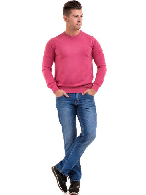 Мъжки пуловер от фино плетиво IQ 045 - тъмно розов C