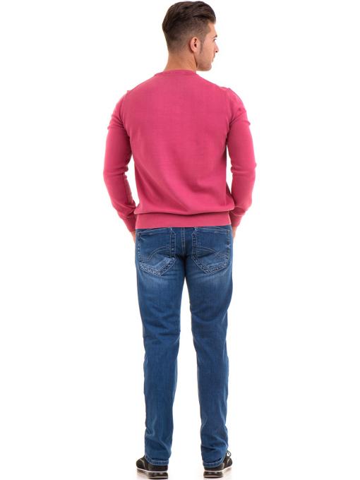 Мъжки пуловер от фино плетиво IQ 045 - тъмно розов E