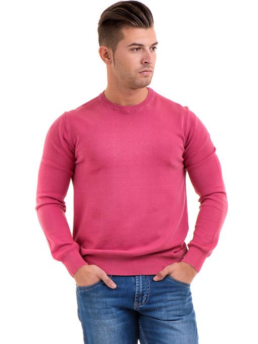 Мъжки пуловер от фино плетиво IQ 045 - тъмно розов