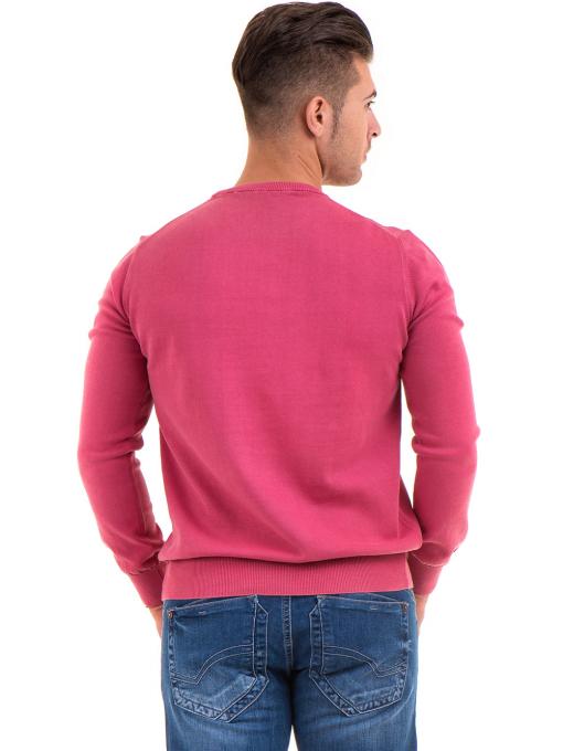 Мъжки пуловер от фино плетиво IQ 045 - тъмно розов B
