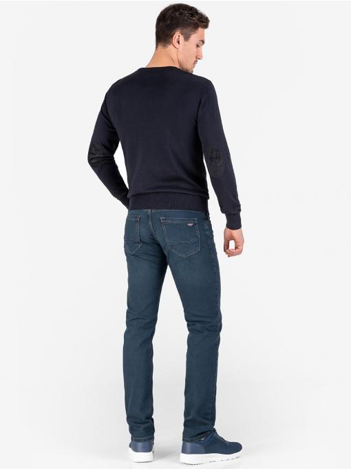 Мъжки пуловер с дълъг ръкав - тъмно син 1620 INDIGO Fashion