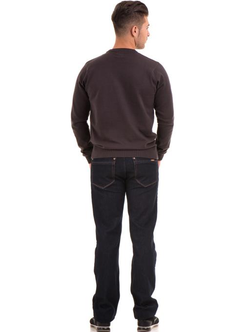 Мъжки пуловер с обло деколте KEEP OUT 6650 - кафяв E