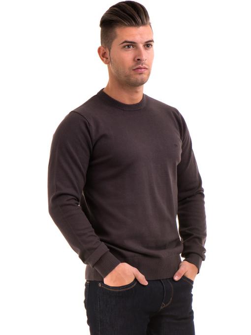 Мъжки пуловер с обло деколте KEEP OUT 6650 - кафяв