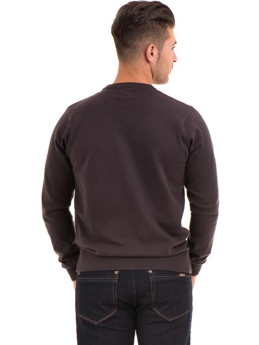 Мъжки пуловер с обло деколте KEEP OUT 6650 - кафяв B