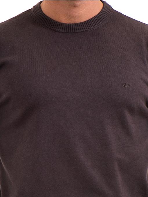 Мъжки пуловер с обло деколте KEEP OUT 6650 - кафяв D