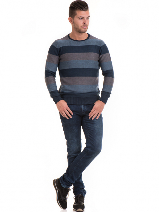 Мъжки пуловер на едро райе MCL 18065 - син C