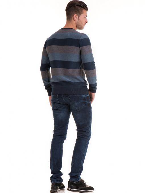 Мъжки пуловер на едро райе MCL 18065 - син E