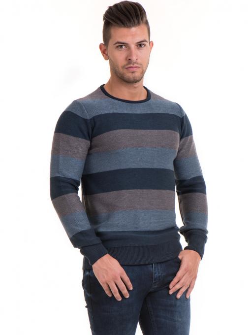 Мъжки пуловер на едро райе MCL 18065 - син