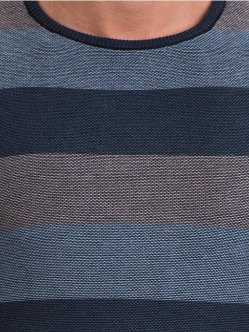 Мъжки пуловер на едро райе MCL 18065 - син D