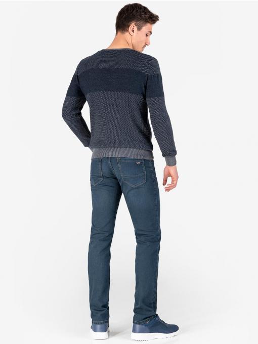 Мъжки пуловер с V-образно деколте - тъмносин 18231 INDIGO Fashion