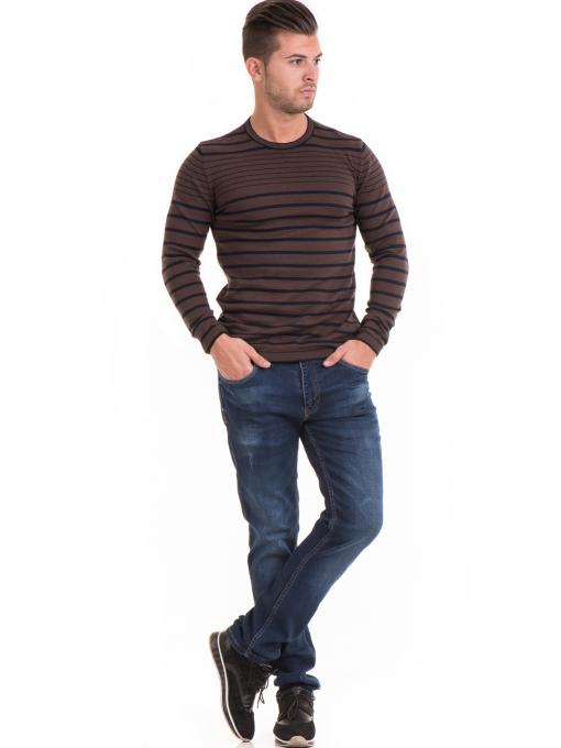 Мъжки памучен пуловер на райе MCL 18269 - кафяв C