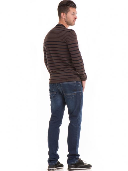 Мъжки памучен пуловер на райе MCL 18269 - кафяв E