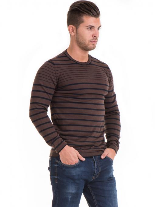 Мъжки памучен пуловер на райе MCL 18269 - кафяв