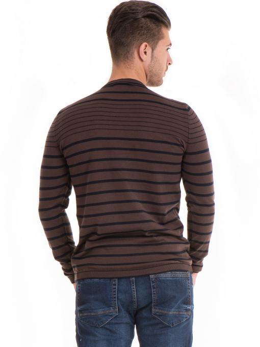 Мъжки памучен пуловер на райе MCL 18269 - кафяв B