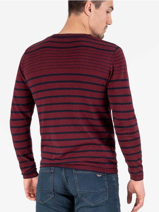 Мъжки пуловер на райе - цвят бордо 18269 INDIGO Fashion