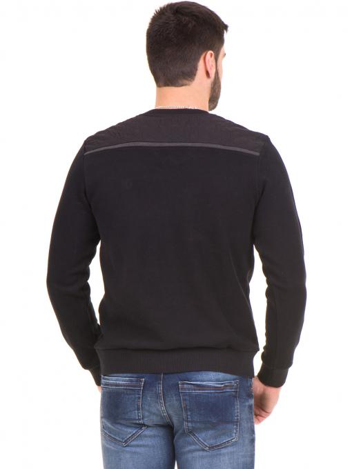 Мъжки пуловер MCL 27789 с V-образно деколте - черен B