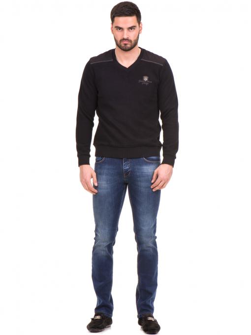Мъжки пуловер MCL 27789 с V-образно деколте - черен C