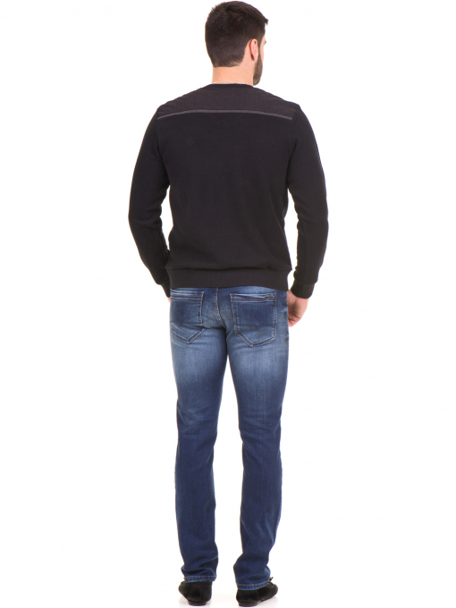 Мъжки пуловер MCL 27789 с V-образно деколте - черен E