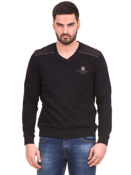 Мъжки пуловер MCL 27789 с V-образно деколте - черен