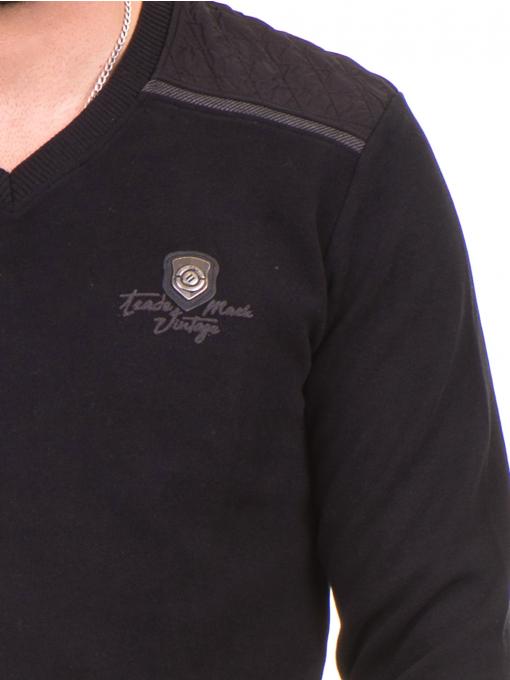 Мъжки пуловер MCL 27789 с V-образно деколте - черен D