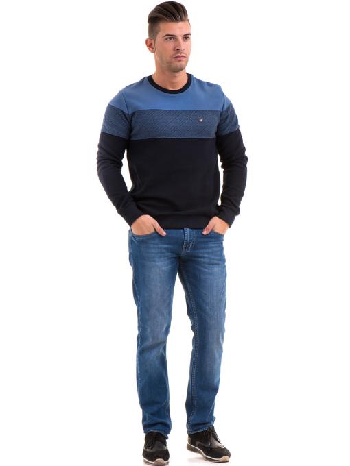 Мъжки пуловер с обло деколте MCL 27927 - син C