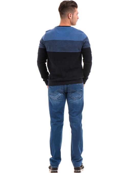 Мъжки пуловер с обло деколте MCL 27927 - син E